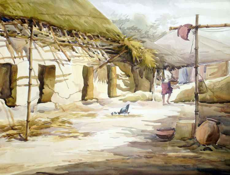 Bengal Village Broken Hut-Watercolor on Paper -