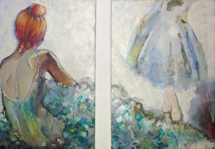 Red headed ballerina original oil dyptic on canvas - Image 0