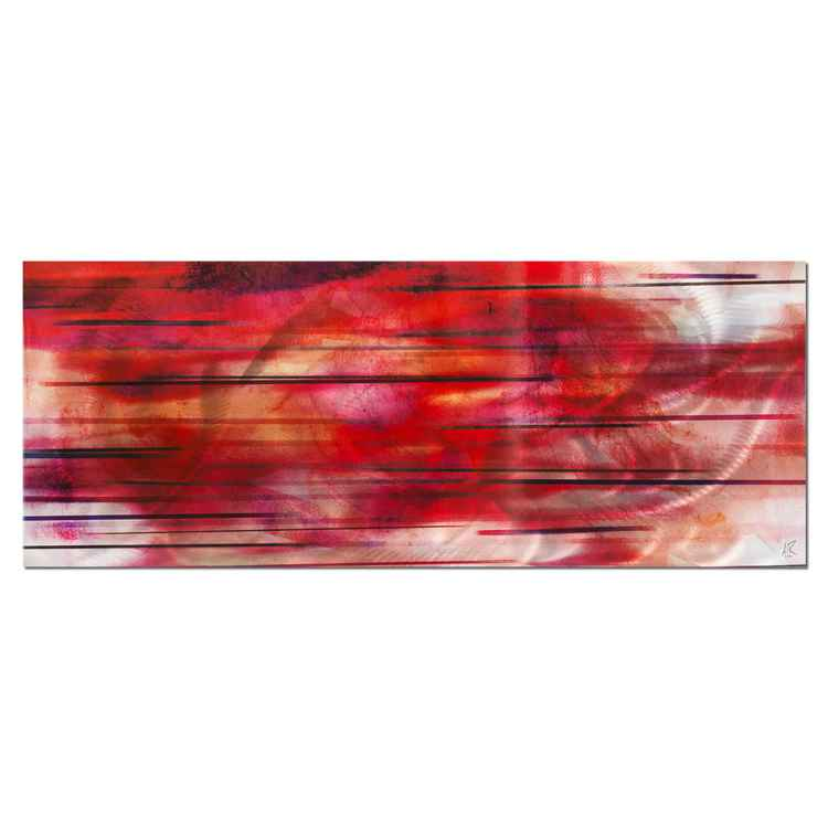 Tropical Sunset | Red/Orange Streak Abstract Art, Giclée on Metal