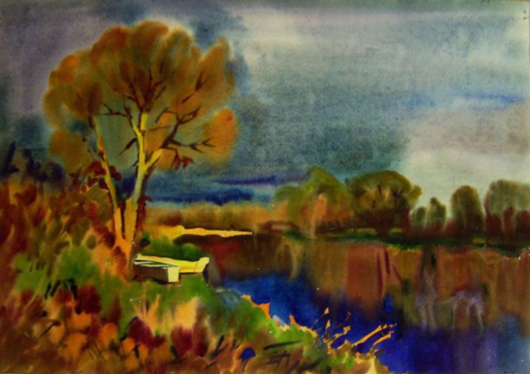 Autumn trees and  boats, 73x51 cm - Image 0