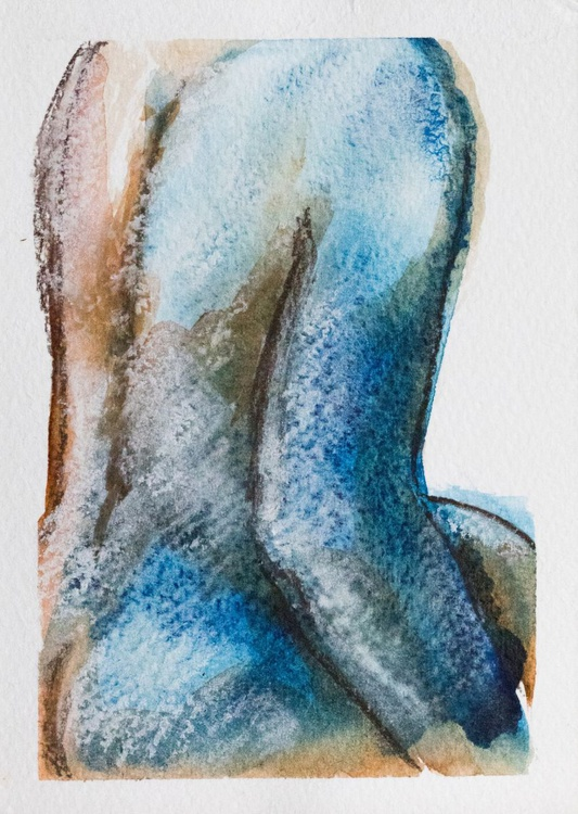 Blue nude #2 - postcard size - small size - 14X10,7 cm - Image 0