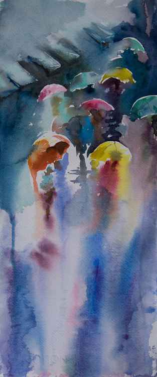 """Umbrellas"", original watercolour painting, 7.6""x 17.8""(19x44.5cm)"