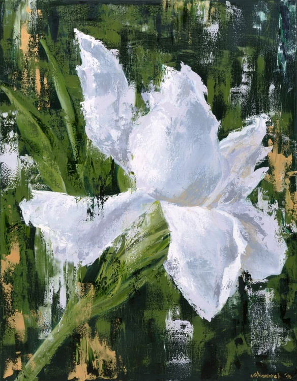 Original artwork White flower, Beautiful flower, Gold, Floral - Image 0