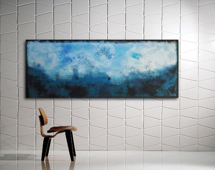 "59x 23,5""( 150x60cm), Antiparos Island Landscape,  orange painting , canvas art, home painting - Image 0"