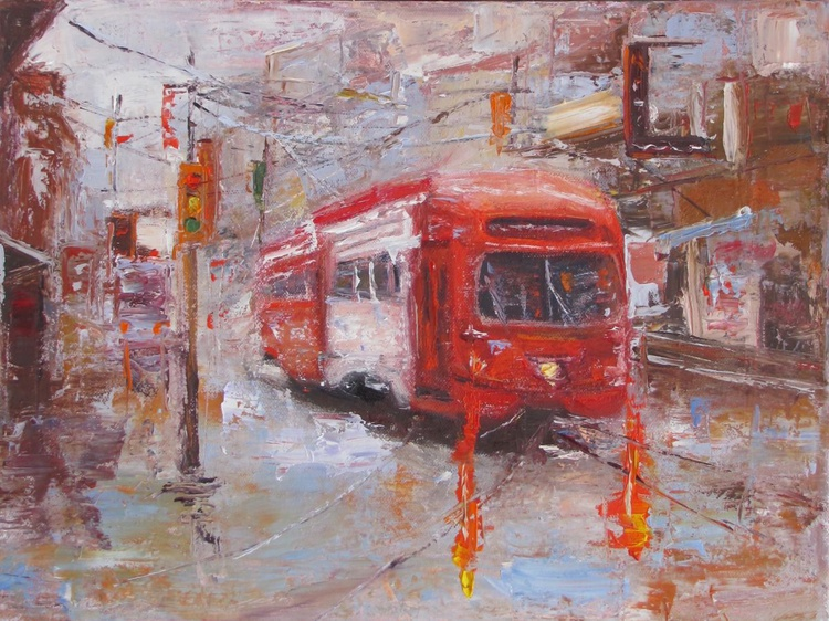 Tram On Your Way to Happiness, Handmade oil painting One of a kind - Image 0