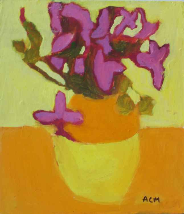 Abstract Flowers in Orange and Yellow Vase
