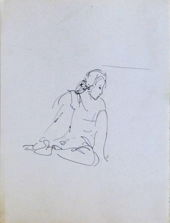 Woman sitting on the floor, 24x32 cm - Image 0