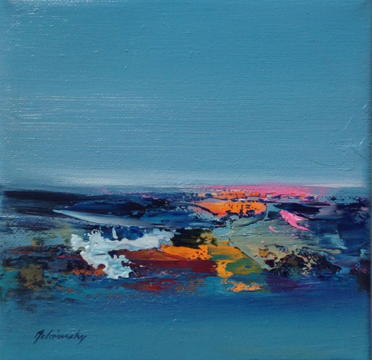 Far From Home - 20 x 20 cm, abstract landscape oil painting in turquoise, pink and orange - Image 0