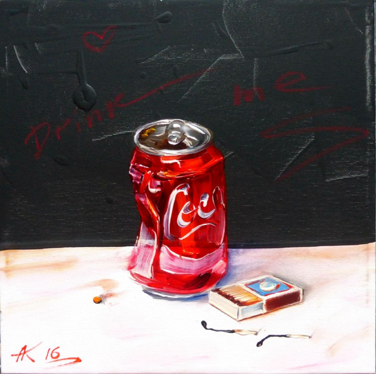 Drink me, oil painting 30x30 cm - Image 0