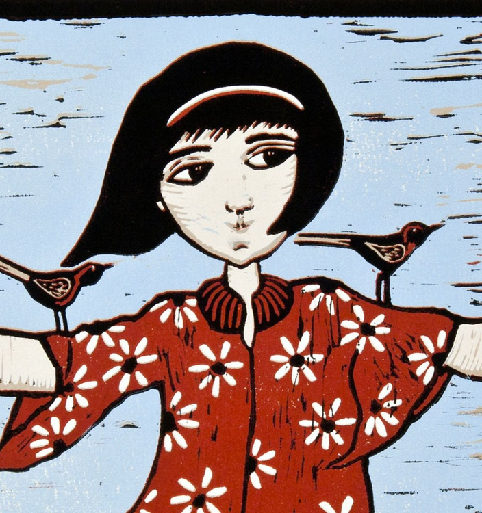 Almost flying , linocut reduction - Image 0