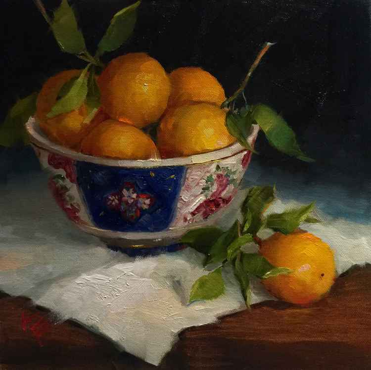 Oranges in Antique Bowl  Still Life