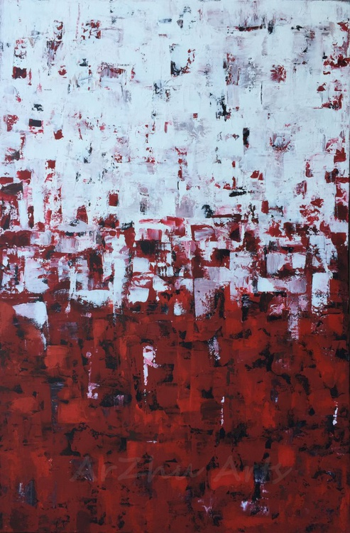 Rose - Red and White Abstract Art - Image 0