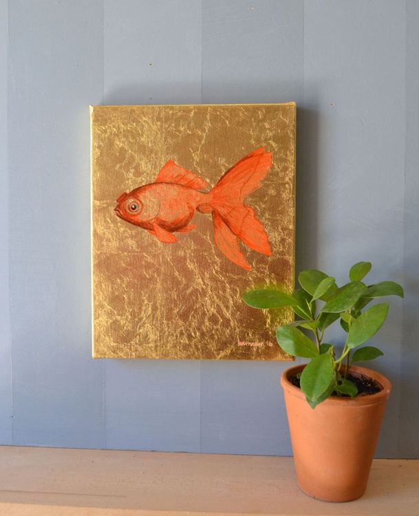 My Little Golden Goldfish Oil Painting on Lacquered Golden Leaf - Image 0