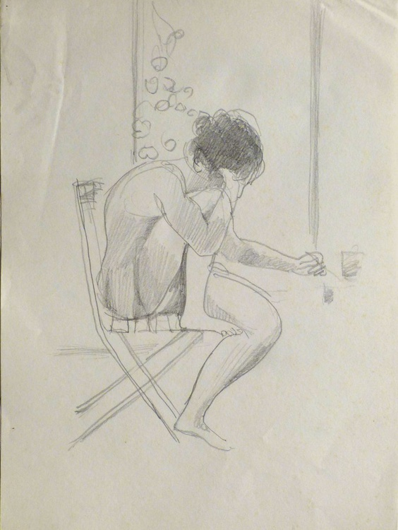 Woman writing by the window, pencil drawing, 21x29 cm - Image 0