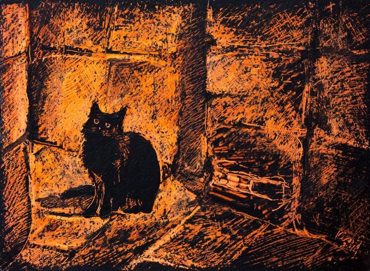 Black cat in the night - Image 0