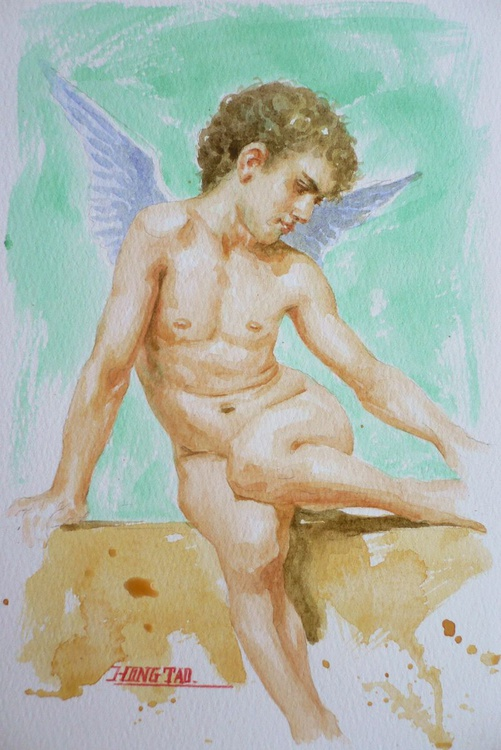 original watercolour painting  angel of nude boy on paper#16-9-28 - Image 0