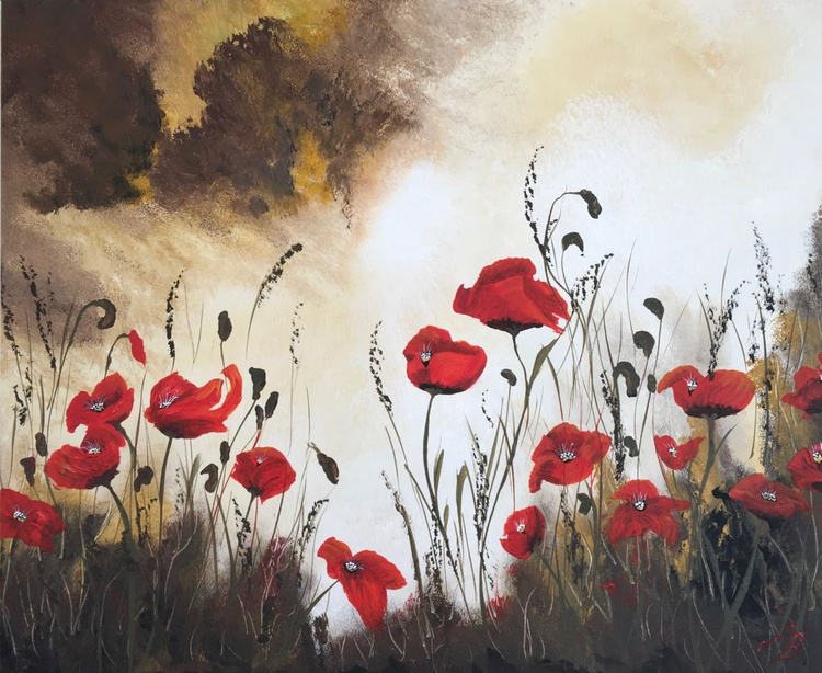 Poppies under a stormy sky - Image 0