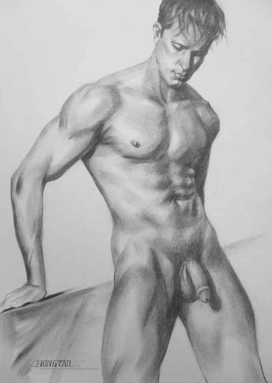 ORIGINAL CHARCOAL DRAWING MALE NUDE MAN ON PAPER#16-1-15