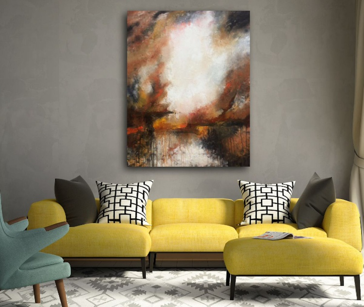 """Landscape abstract art"" ,  Large Abstract Acrylic Painting - 28x36inches - Image 0"