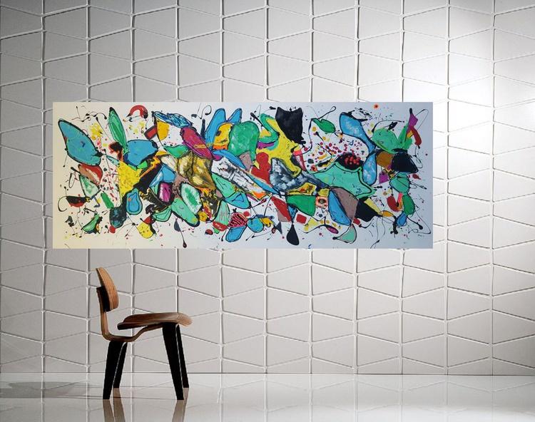 "59x 23,5""( 150x60cm), Serifos Island Landscape,  blue painting , canvas art, home painting - Image 0"