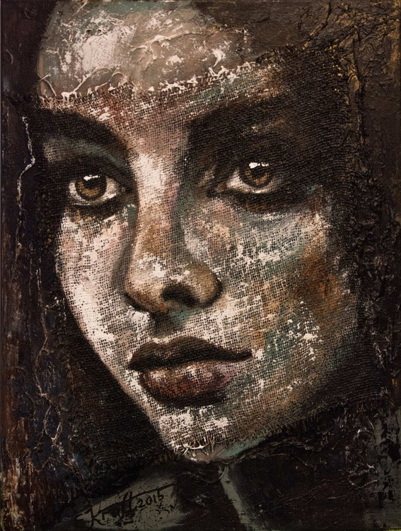 """""""Petitte girl""""Original acrylic painting on canvas and sack 60x80x2cm. - Image 0"""