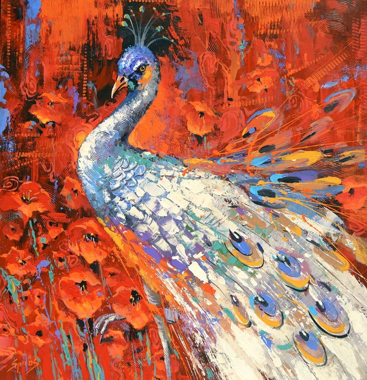 "White peacock and poppies - oil ac. Painting with Palette Knife on Canvas by Dmitry Spiros. Size: 40""x40"" (100 cm x 100 cm) - Image 0"