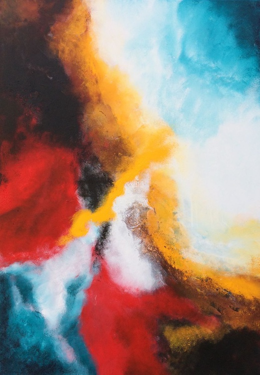 P E A C E - Lyrical Abstract Acrylic Painting 2015 28x40inches - Image 0
