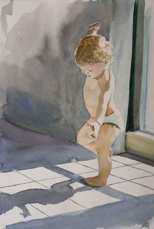 """FIRST STEPS"", original watercolour painting, 15.2""x22.8""(38x57cm)"