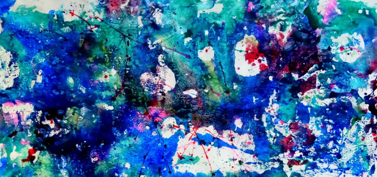 Hole in my soul, abstract large painting 105x50 cm - Image 0