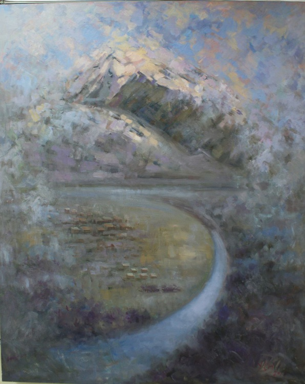 """""""The beauty of the Alpine mountains."""" FREE SHIPPING. The size of 120x160 cm Canvas / Oil. - Image 0"""