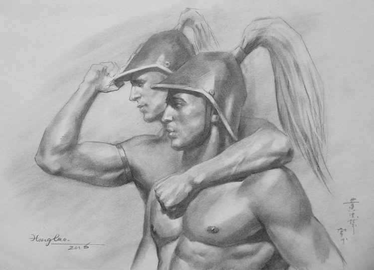 original art drawing charcoal portrait of  soldier on paper #16-3-30