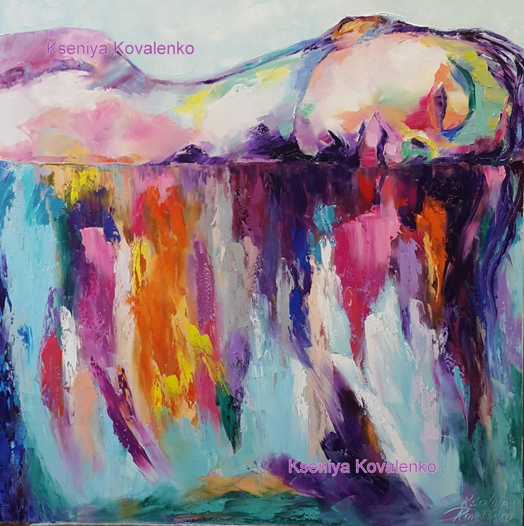 painting *rainbow on your lips* Oil on canvas 70х70 cm - Image 0