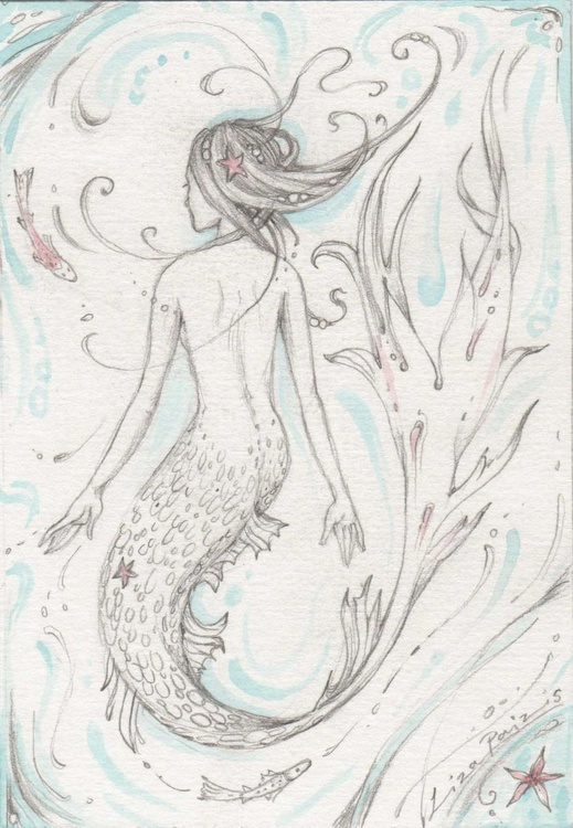 Mermaid and fish pencil drawing with watercolour highlights - Image 0