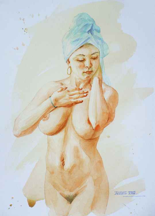 original art watercolour painting  female nude girl  on paper #16-5-3-01