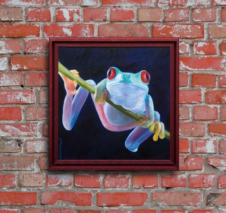 ORIGINAL ARTWORK , Animals, Red eyed tree frog, green frog - Image 0