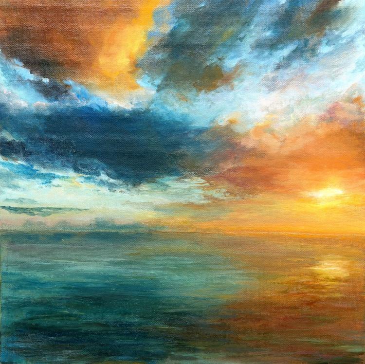 Oil painting on canvas panel, Orange sunset , Seascape - Image 0