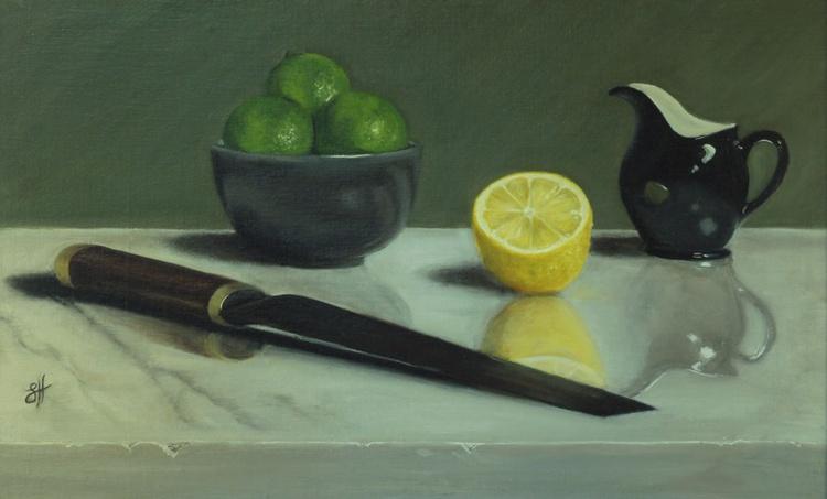 Citrus Fruits, Black Jug and Knife - Image 0