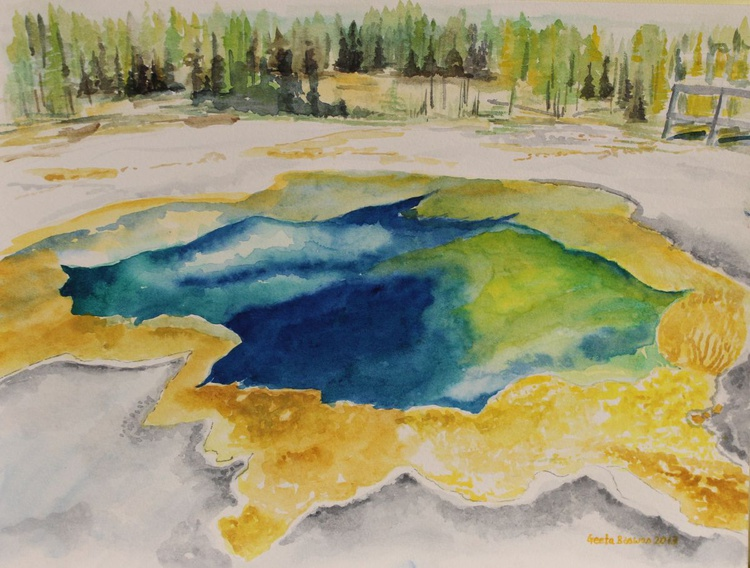 Hot Springs, Yellowstone National Park, watercolor painting - Image 0