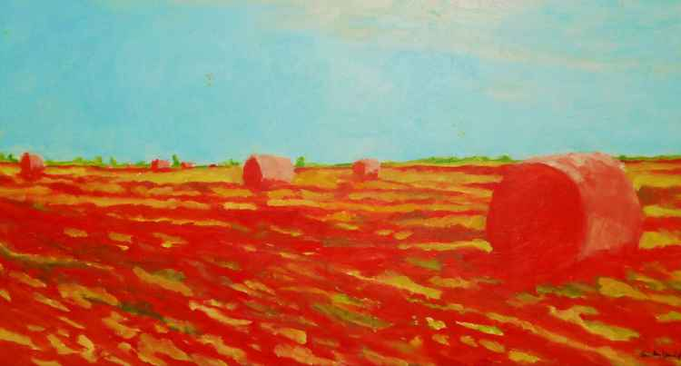 Hay Bales Dressed in Red -