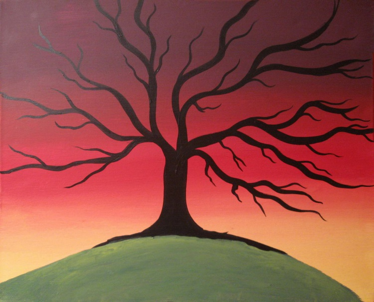"""landscape tree  colour abstract """"The Rainbow Tree"""" painting art canvas - 16 x 20 inches - Image 0"""