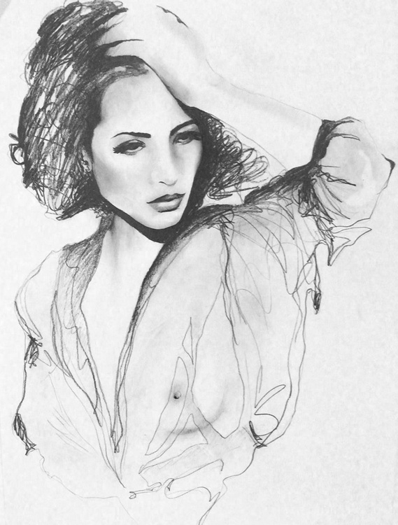 Sheer - original pencil drawing on paper - Image 0