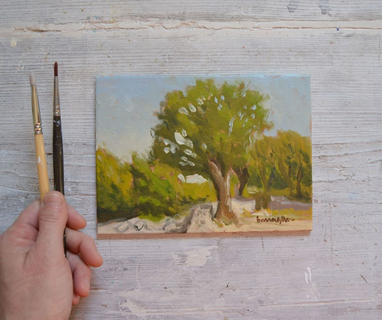 Little Oak down at the Hermitage in Porchiano del Monte, Umbria Plein Air Italian Landscape Oil Painting - Image 0