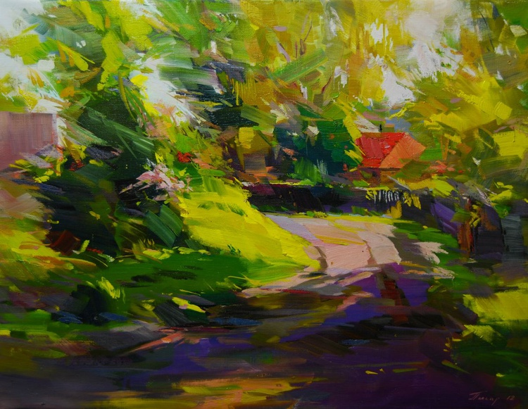 "Plein air Oil Painting, "" Path of Shadows "" - Image 0"