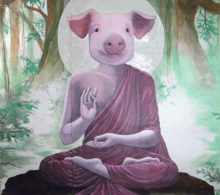Buddha Pig Mural -
