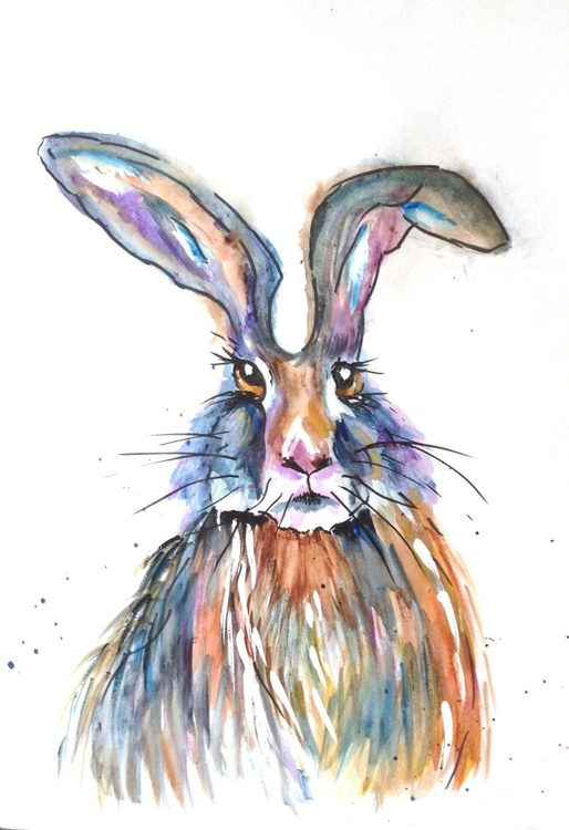 Bad Hare Day, 11 X 15 inch watercolour mounted ready to frame - Image 0