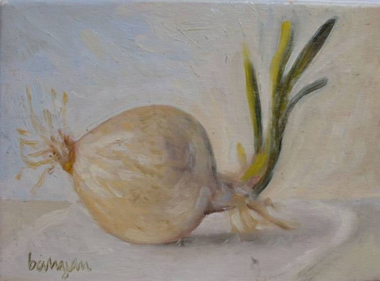 White Onion with Sprout Oil Painting Kitchen Food Painting - Image 0