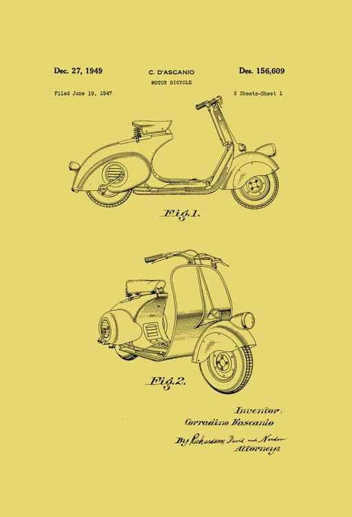 Motor Bicycle Patent - Circa 1949 - Black Line Drawing -