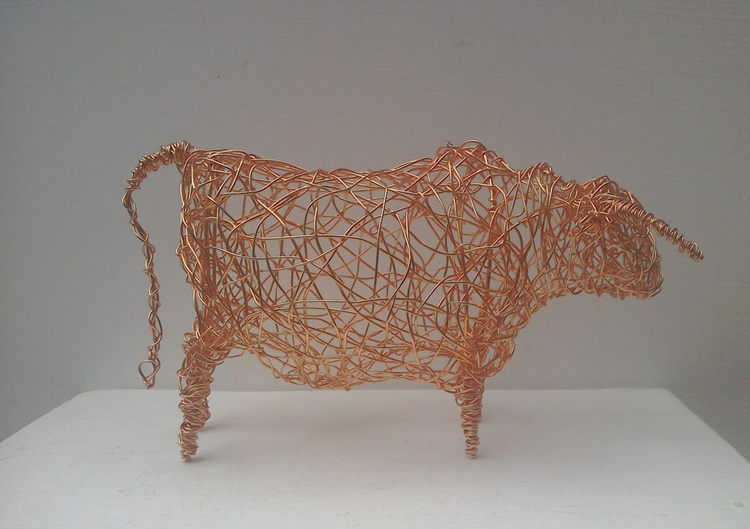 Hereford Bull. Copper Wirework Sculpture - Image 0