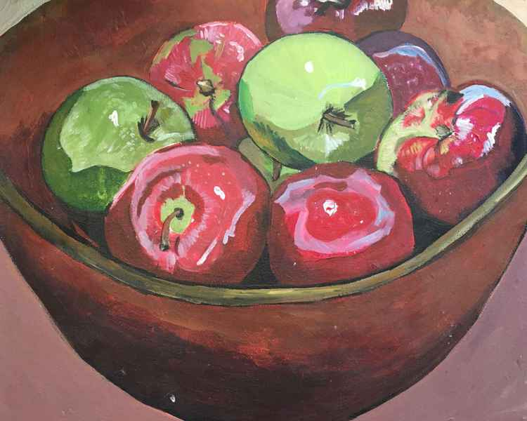 Apples in Wooden Bowl -