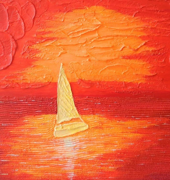 Nearly Home - Original, modern impressionist seascape impasto painting - Image 0